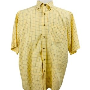 LL BEAN Yellow Short Sleeve Button Down Shirt NWOT